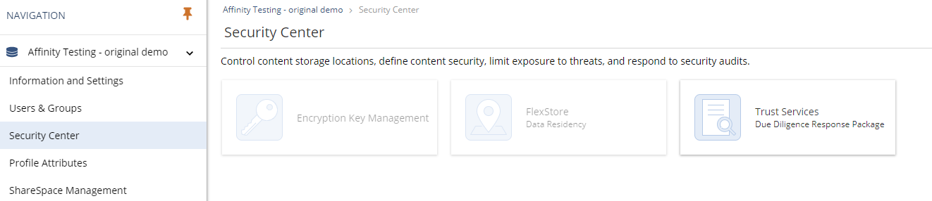 NetDocuments Admin Console security center