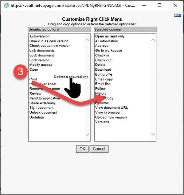 Add or remove features from your right-click menu in NetDocs