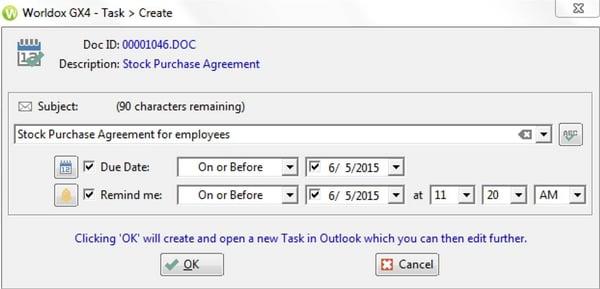 Create task in Worldox GX4 update