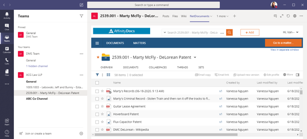 Full version of NetDocs workspace inside MS Teams channel | Legal Document Management