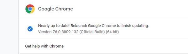Google Chrome version ID window