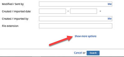 NetDocuments Advanced Search Sort Options - Show More Options