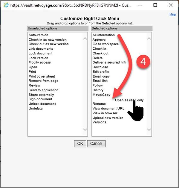 Re-order options in customized NetDocs right-click menu