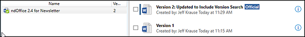 Search for Version Name in NetDocs 2.4 Update