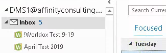 Worldox icon added to Outlook folders when linked